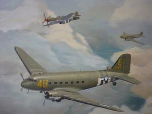 Dakota C-47 met mustang begeleiding