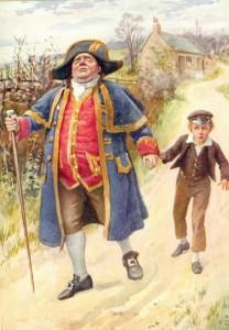 Dit is een oude prent van Mister Bumble die als voorbeeld voor het kostuum is gebruikt.